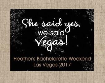 "4"" x 3""  Welcome Box Labels -  18 Bachelorette Welcome Bag Labels - Welcome Stickers - Box Stickers - She said yes, we said Vegas!"
