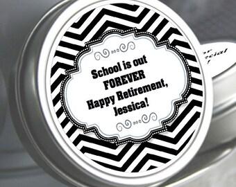 12 Teacher Retirement Mint Tins - RetireMints - Teacher - Retirement Favors - Retirement Decor - Retirement Mints - Retired Mints