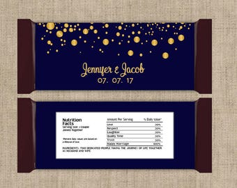 Large Personalized Gold Confetti on Navy Hershey Candy Bar Wrappers - 6 Wedding Candy Bar Wrapper  - Other Colors Available (Set of 12)