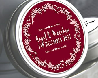 Personalized Wedding Mint Tins, Bridal Shower Mint Tins, Burgundy Wedding Favors, Wedding Favors, Wedding Heart Wreath Mint Tins Favor