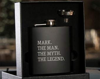 The Man, The Myth, The legend Flask - Personalized Black Flask with Funnel - Gift Box - Wedding Party Gift - Groomsman Gift - Best Man Gift