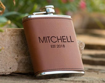 Personalized Last Name Brown Leather Flask - Groomsman Flask - Best Man Flasks - Leather Wrapped Name Flask - Bridal Party Flask