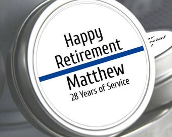 12 Retirement Mint Tins -  - RetireMints - Police Retirement - Retirement Favors - Retirement Decor - Retirement Mints - Retired Mints