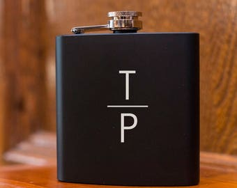 Black Monogram Flask - Black Hip Flask - Engraved Flask - Personalized Black Flask - Christmas Gift - Gift - Stocking Stuffer - Present