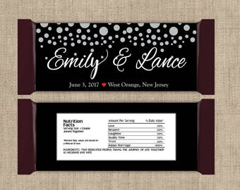 Large Personalized Silver Confetti on Black Hershey Candy Bar Wrappers - Wedding Candy Bar Wrapper, Bridal Shower, Birthday (Set of 12)