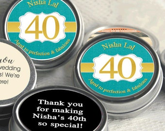 Birthday Mint Tin Favors, 40th Birthday Favors, Burlap, Turquoise, Gold and White Birthday Favors, Candy Birthday Favors, Birthday Decor
