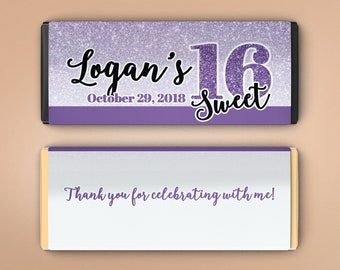 12 Large Personalized Hershey Candy Bar Wrappers - Sweet 16 Birthday Favor  - Faux Purple Glitter - Sweet 16 - Birthday Candy Wrapper