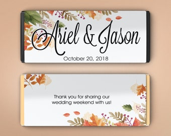 Fall Wedding Favors, Candy Bar Wrappers, Fall Favors, Party Favors, Personalized Favors, Wedding Bridal Shower (Set of 12)