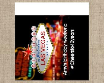 Lip Balm Labels - Personalized Lip Balm Labels - Birthday in Las Vegas. 1 Sheet of 12 Lip Balm Labels - Custom Lip Balm Labels