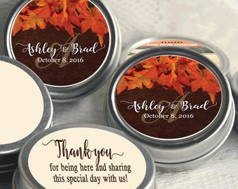 60 Personalized Fall Mint Tins -  Autumn -  Rustic Wedding - Fall Bridal Shower - Mint Favor Keepsake -  Thank You Gift - Fall in Love