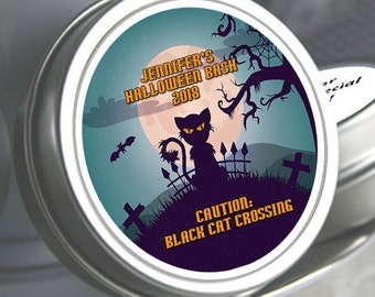 """12 Halloween Favors Black Cat Crossing Mint Tins - Need a different quantity? Click on the """"choose total"""" tab to see all pricing"""