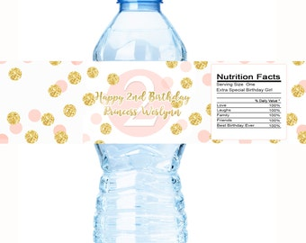 30 Gold and Pink Birthday Water Bottle Labels - Birthday Decor, Birthday  Decorations, Birthday  Bottle Labels, Birthday  bottle wraps