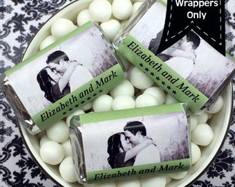 Photo Hershey's Miniatures Chocolate Wrappers - Wedding Decor - Wedding Mini Wrappers - Miniature Hershey Wrapper - Photo Candy Wrappers