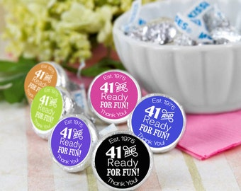 41 and ready for fun! Hershey Kiss® Stickers - Hershey Kiss Stickers Wedding - Personalized Hershey Kiss Labels - 108 Hershey Kiss Seals