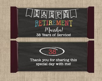 12 Large Retirement Hershey Candy Bar Wrappers - Wedding Candy Bar Wrapper  - Retirement Wrappers - Retirement Candy Bar Wrappers