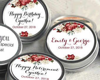 12 Personalized Burgundy Red Marsala Floral Fall Mint Tins - Wedding Favors  - Retirement Favors - Birthday Favors - Bridal Shower Favors