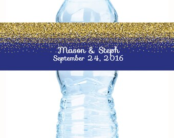 "Royal Blue & Gold Glitter Water bottle labels. Customizable drinks covers, 8 x 2"", Bridal Shower, Sweet 16, Wedding, Wedding Bottle Wraps"