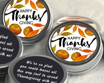 Thanksgiving Gift Ideas - 12 Thanksgiving Mint Tins  - Thanksgiving Favors - Thanksgiving Party Favors - Give Thanks - Happy Thanksgiving