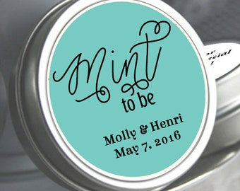 Wedding Favors - 150 Mint Favors - Mint to Be Favors - Wedding Mints - Personalized Wedding Tin Mints - Mint Tins - Wedding Candy Containers