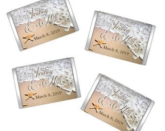Personalized Beach Starfish Miniature Chocolate Wrappers | Starfish Candy Bar Wrappers | Wedding Decor  | Mini Wrappers