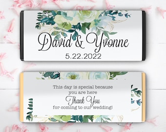 12 Large Personalized Chartreuse and Turquoise Personalized Candy Bar Wrappers for Bridal Showers, Weddings, Birthdays, and Baby Showers