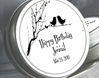 12 Birds on a Branch Birthday Favors Mint Tins - Love Birds - Birds - Birthday Mint Favors - Birthday Decor - Birthday Party supplies
