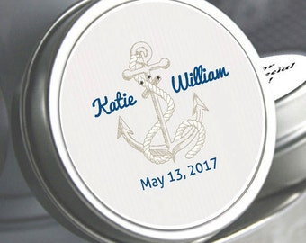 "12 Nautical Anchor Wedding Mint Tin Favors - Select the quantity you need below in the ""Pricing & Quantity"" option tab"