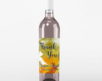 Wedding Wine Label - Custom Wine Label - Personalized Wine Label - Wedding Wine Bottle Label - Fall Wedding - Thank You Wine Labels