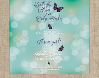 Butterfly Kisses and Baby Wishes Baby Shower Custom Designed Candy Bar Wrappers for Hershey's Chocolates