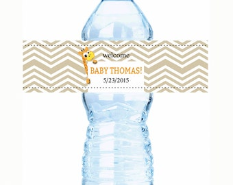 "30 Born to be Wild Animal Baby Shower Water Bottle Labels  - Select the quantity you need below in the ""Pricing & Quantity"" option tab"