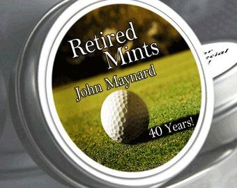 Golf Retirement Mint Tins-  - RetireMints - Golf  - Retirement Favors - Retirement Decor - Retirement Mints - Retired Mints - Golf Mints