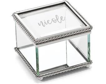 Silver and Glass Mini Jewelry Box | Keepsake Box | Glass Jewelry Box | Bridesmaid Gift | Gifts for Her | Trinket Box | Free Personalization