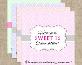 12 Sweet 16 Candy Bar Wrappers for Hershey's Chocolates - Sweet 16 Candy Bar Label - Personalized Candy Bar Labels - Sweet 16 Favors
