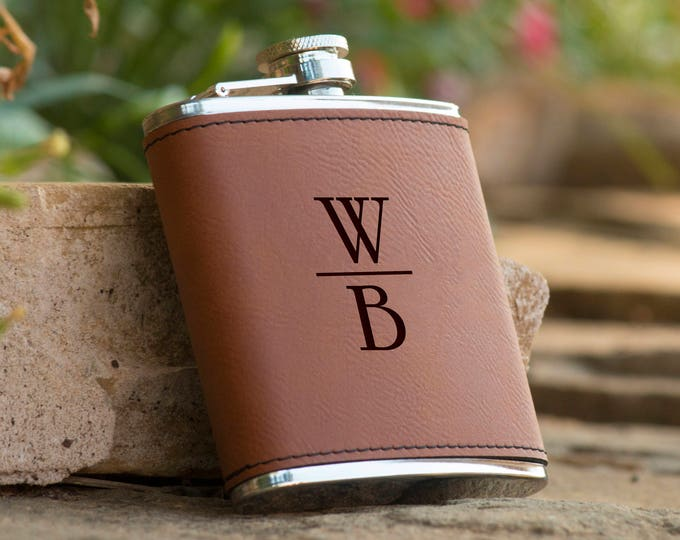 Featured listing image: Personalized Initials Brown Leather Flask |  Groomsman Flask Best Man Gift  Personalized Flask Gifts for Him Boyfriend Gift Husband Gift