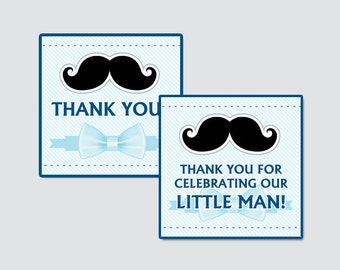 Bow Tie Baby Shower Printable Favor Tag - Blue Bow Tie Baby Shower Favor Tags - Thank You Tag, Little Man Favor Tags