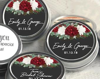 12 Personalized Wedding Mint Tin Favors - Wedding Favor Mint Tins - Personalized Wedding Favors - Rose Rose Wedding Favors - Rustic Wedding