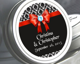 """12 Personalized Damask Black and Red  Wedding Mint Tin Favors  - Select the quantity you need below in the """"Pricing & Quantity"""" option tab"""