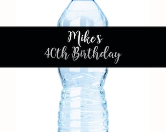 30 Birthday Water Bottle Labels, Personalized Bottle Labels, Black Birthday Labels, Birthday Bottle Wraps, Calligraphy Label, Birthday Favor