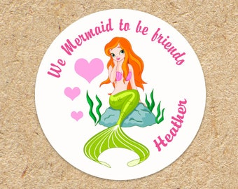 Valentines Day Stickers | Valentine Stickers | Kids Valentine Labels | Mermaid Valentine | Girls Valentines | Classroom Party Valentines