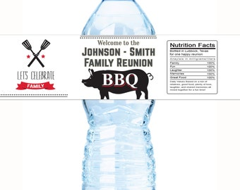 20 Custom Family Barbecue BBQ Labels for Water Bottles, Jars, Cans and more. Self Stick, Family Reunion Labels, BBQ Labels, Fun BBQ Labels