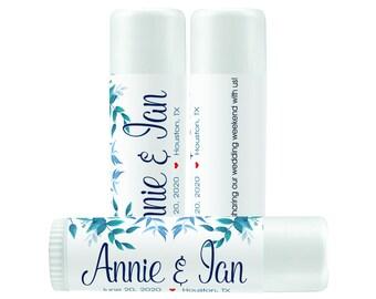 Lip Balm Labels - Personalized Lip Balm Labels - Blue Green Leaves - 1 Sheet of 12 Lip Balm Labels - Custom Lip Balm Labels - Bachelorette