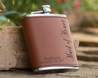Personalized Bridesmaids Bridal Party Brown Leather Flask - Matron of Honor Flask -  Maid of Honor Flask - Bridesmaid Flask - Engraved Flask