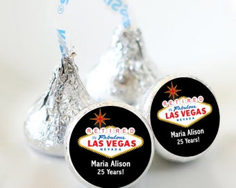108 Retired in Las Vegas Hershey Kiss® Stickers - Hershey Kiss Stickers Wedding - Candy Labels - Wedding Favors - Candy Stickers