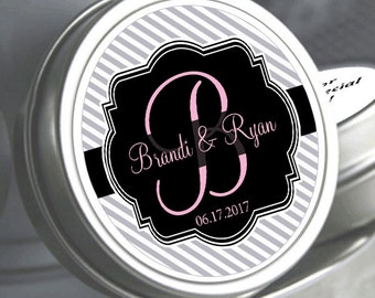 "12 Our Wedding Monogram Mint Tins - Need a different quantity? Click on the ""choose total"" tab to see all pricing"