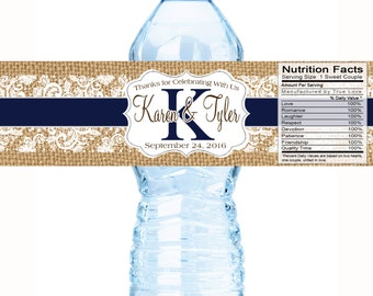 Monogram Water Bottle Labels -  Wedding Bottled Water Labels -Rustic Wedding - Burlap and Lace - Wedding Decor - 30  Water Bottle Labels