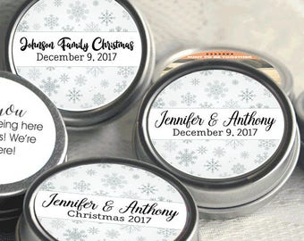 Personalized Christmas Mint Tins, Corporate Christmas Favors, Wedding Favors, Mint Favor Tins -  Silver Snowflakes - Christmas Party Ideas