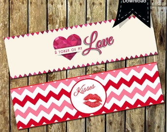Token of my Love Printable Water Bottle Labels - Kisses Water Bottle Labels - Token of my Love Labels - Printable