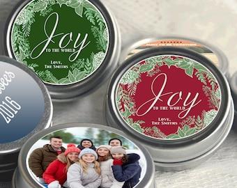 12 Personalized Christmas Mint Tins Favors - Photo  - Christmas Favors - Christmas Decor - Christmas Gift Ideas - Stocking Stuffers