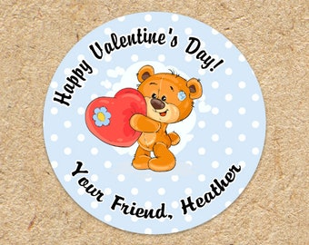 Boys Valentines Day Sticker | Teddy Bear Heart Balloon | Valentine Favor Sticker | Treat Labels for School | Class Party | Blue Polka Dot