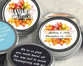 Personalized Wedding Mint Tins - 12 Thanksgiving Mint Tins  - Thanksgiving Favors - Thanksgiving Decor - Wedding Favors - Party Supplies